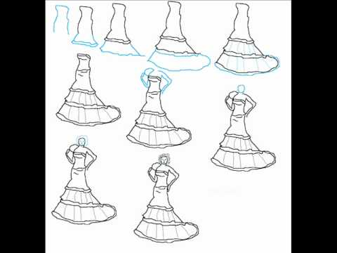 How To Draw A Wedding Dress Easy Simple Step By Step ...