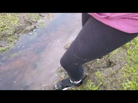 Girl PUMA shoes and socks in deep mud!!!