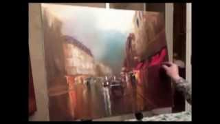 Новый Боб Росс Сахаров Картина Маслом Городская Улица