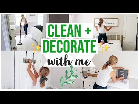 CLEAN + DECORATE WITH ME! NEW FARMHOUSE BOHO DECOR SMALL GUEST BEDROOM EXTREME MAKEOVER | Brianna K