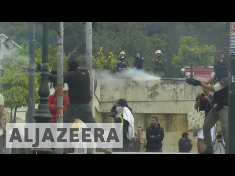 Thousands protest against austerity in Greece