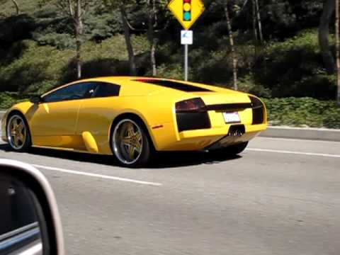 Yellow Lamborghini Murcielago On The Road Youtube