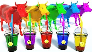 LEARN COLORS | Invisible Coffee Box and Cow for Kids | Colours with Animals and Soccer Balls