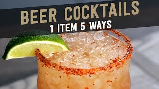 Beer Cocktails:  1 Item, 5 Ways(Ever had a beer cocktail? Try these! 1. MICHELADA INGREDIENTS: One 12 oz. Tecate (or any other Mexican lager) 2 tbsp. fresh lime juice 2 dashes Maggi ..., 2016-01-27T23:02:28.000Z)