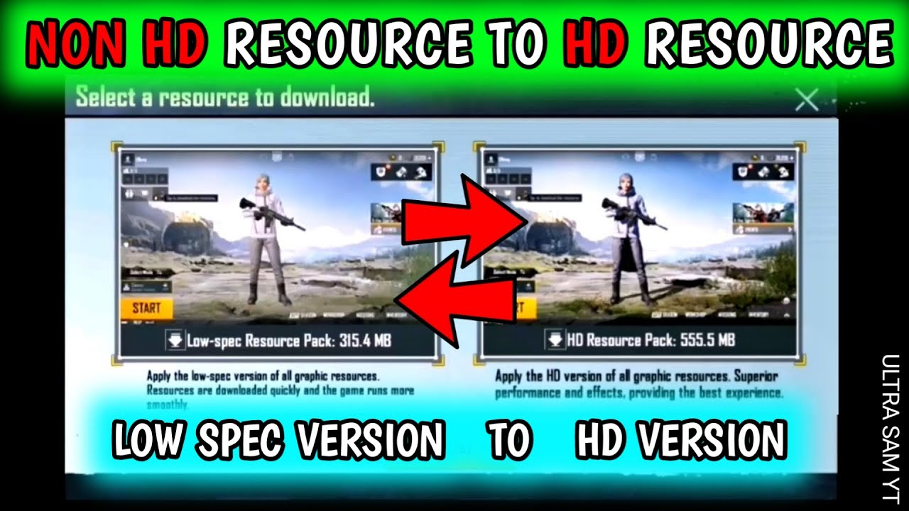 HOW TO CHANGE LOW SPEC RESOURCE PACK TO HD RESOURCE PACK 🔥 NON HD LOBBY TO HD LOBBY IN PUBG MOBILE