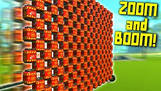 GIANT ROCKET POWERED TNT WALL OF DESTRUCTION! - Scrap Mechanic Gameplay