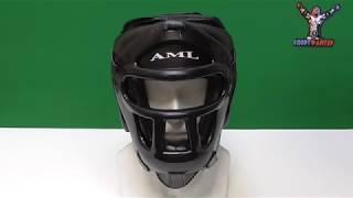 Боксерский тренировочный шлем AML с пластиковой маской черный