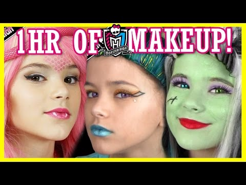 1 hour of MONSTER HIGH DOLL MAKEUP TUTORIALS! | Costume, Hal