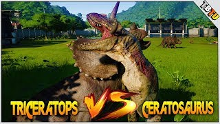 TRICERATOPS Vs CERATOSARUS! INSANE KO! Jurassic World Evolution Dinosaur Battle Park E9