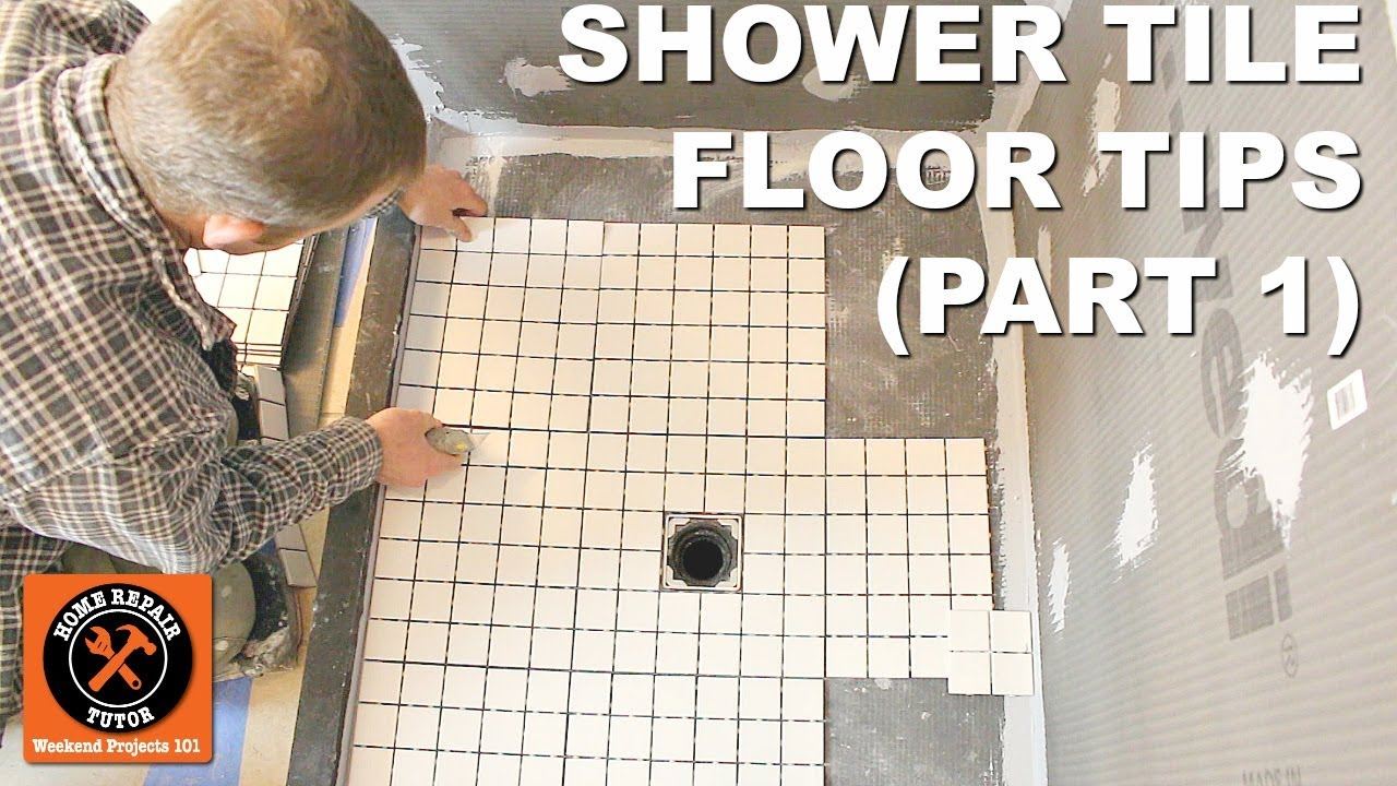 How To Tile A Shower Floor Part 1 Layout For 2x2 Tiles Youtube