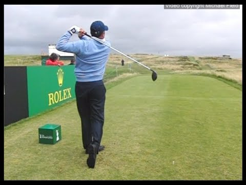 José María Olazábal golf swing - Driver & Short iron (down-the-line view), July 2017.