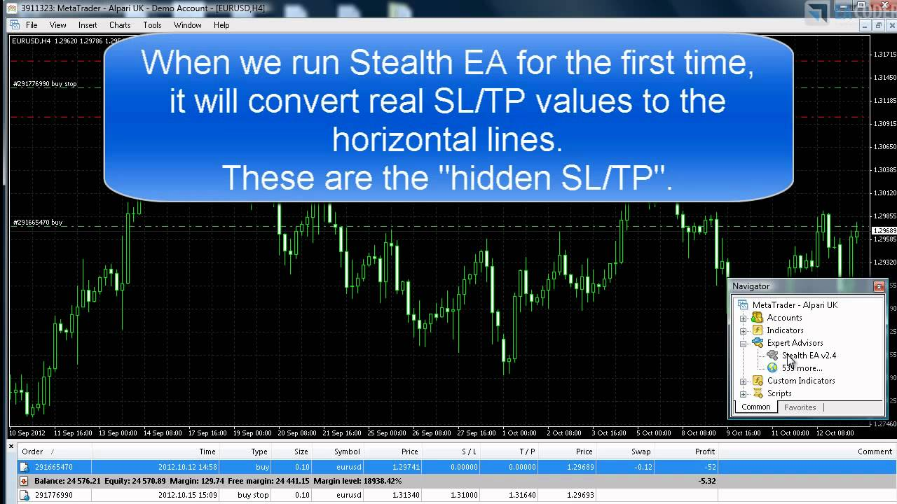 Stealth Ea Hidden Stop Loss Take Profit Youtube