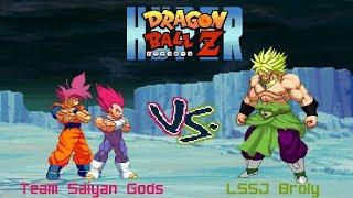 Hyper DBZ Mods: God Goku (Mod) & God Vegeta (Mod) VS LSSJ Broly (EB)