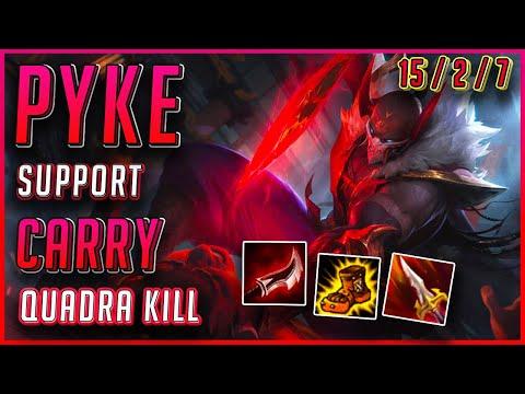 SUPPORT BLOOD MOON PYKE CARRY!   QUADRAKILL Season 10 Gameplay