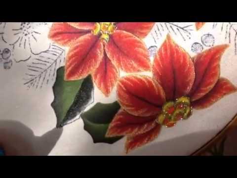 Pintura en tela hojas de nochebuena del oso 2 con cony youtube - Pintura en tela motivos navidenos ...