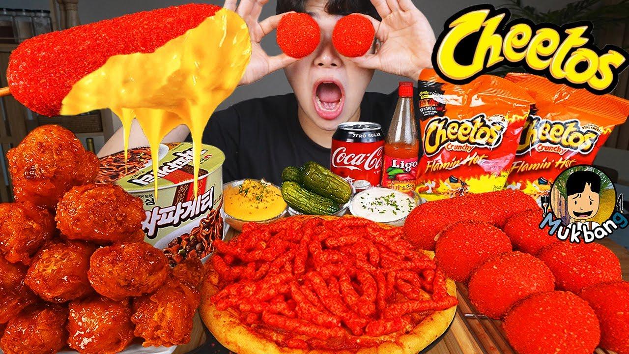 ASMR MUKBANG 치토스 피자 핫도그 & 양념 치킨먹방! CHEETOS CHEESE PIZZA & FRIED CHICKEN & HOT DOG EATING SOUND!