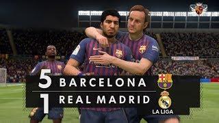 BARCELONA 5 x 1 REAL MADRID NO FIFA 19 - LA LIGA   NARRAÇÃO DE NIVALDO PRIETO