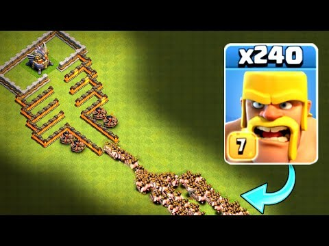 240 BARBARIANS vs MOUNT DOOM!! - Clash Of Clans - INSANE MASS TROOP CHALLENGE!!
