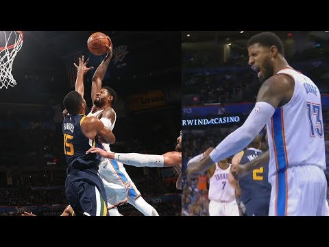 Paul George Dunks on Derrick Favors! Jazz vs Thunder 2017-18 Season