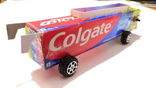 How to make electric Bus from Colgate box | easy and simple Bus | Colgate bus