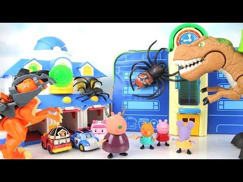 Monster Spider Attack Peppa Pig School Bus! GoGo Dinosaurs T-rex Allosaurus! Dinosaurs Fun Movie.