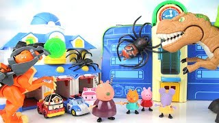 Monster Spider Attack Peppa Pig School Bus! GoGo Dinosaurs T-rex Allosaurus! Dinosaurs Fun Movie.
