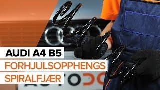 Hvordan bytte forhjulsopphengs spiralfjær på AUDI A4 B5 [BRUKSANVISNING]