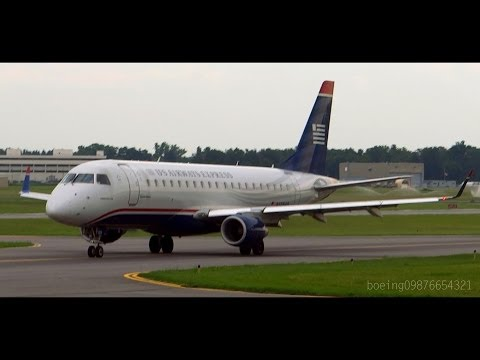HD US Airways ERJ-170-200LR Close Taxi and Takeoff from Albany International Airport