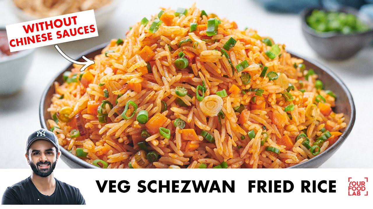 Veg Schezwan Fried Rice without Chinese sauces | Perfect Rice Boiling Tips | Chef Sanjyot Keer
