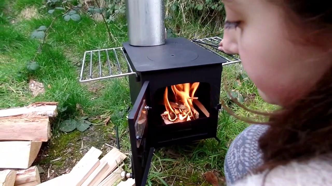 Hot tent stove Bushcraft KP stove fire box  YouTube