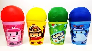 RoboCar poli Cup with play doh and Surprise Eggs My Little Pony Disney Mickey Mouse