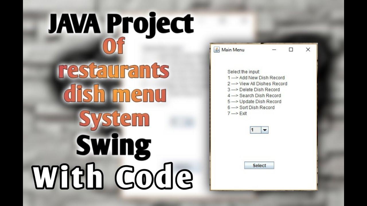 java project restaurant dish menu system file handling java io