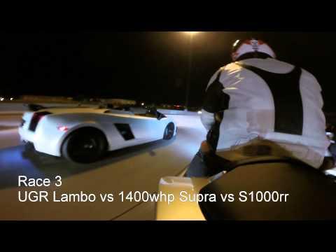 2000hp UGR lambo vs 900whp GTR vs S1000rr vs 1400whp supra vs lowered/stretched zx10r