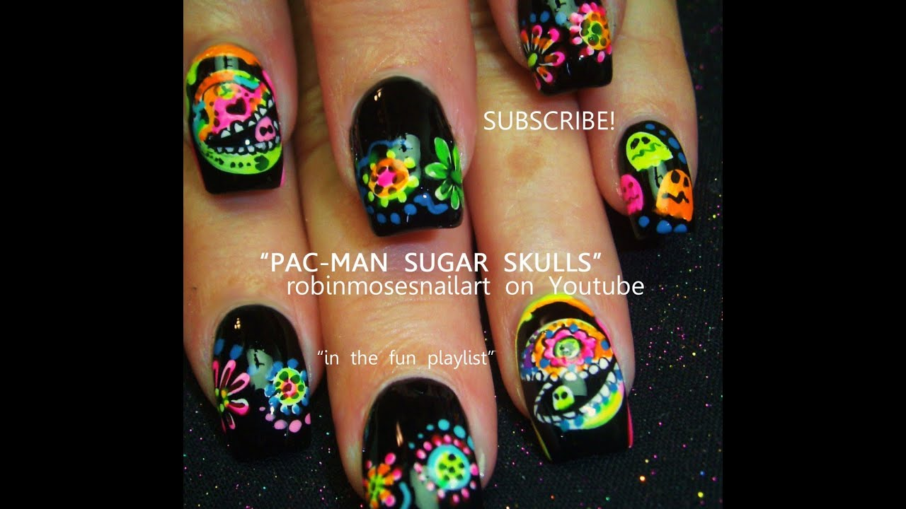 Day of the Dead Nail Art | Pac Man Sugar Skull Nails Design Tutorial ...