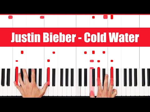 Cold Water Major Lazor ft. Justin Bieber Piano Tutorial - EASY