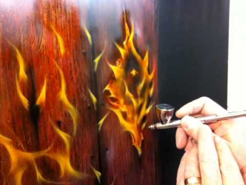 Painting Woodgrain Part 3 - Painting Fire On Wood - Free Airbrush