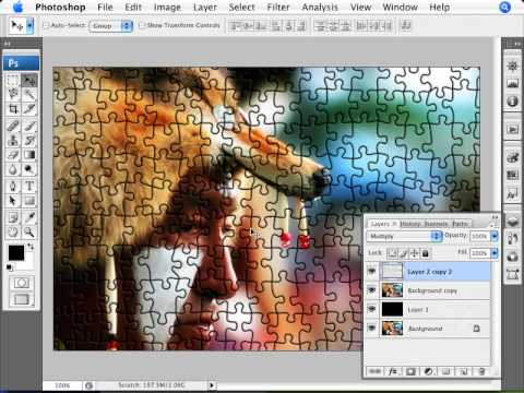 learn photoshop how to transform a photo into a puzzle youtube