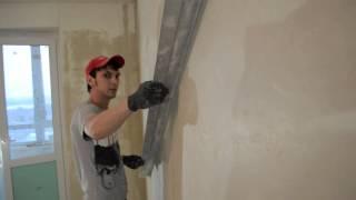 Контроль плоскости стены, оштукатуренной по гипсовым маякам