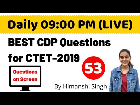 Best CDP(बाल विकास) Questions for CTET-2019 | Live-53