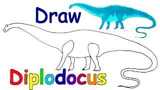 How to Draw Dinosaurs - Draw Animals - Coloring Pages - Kids Learn Drawing