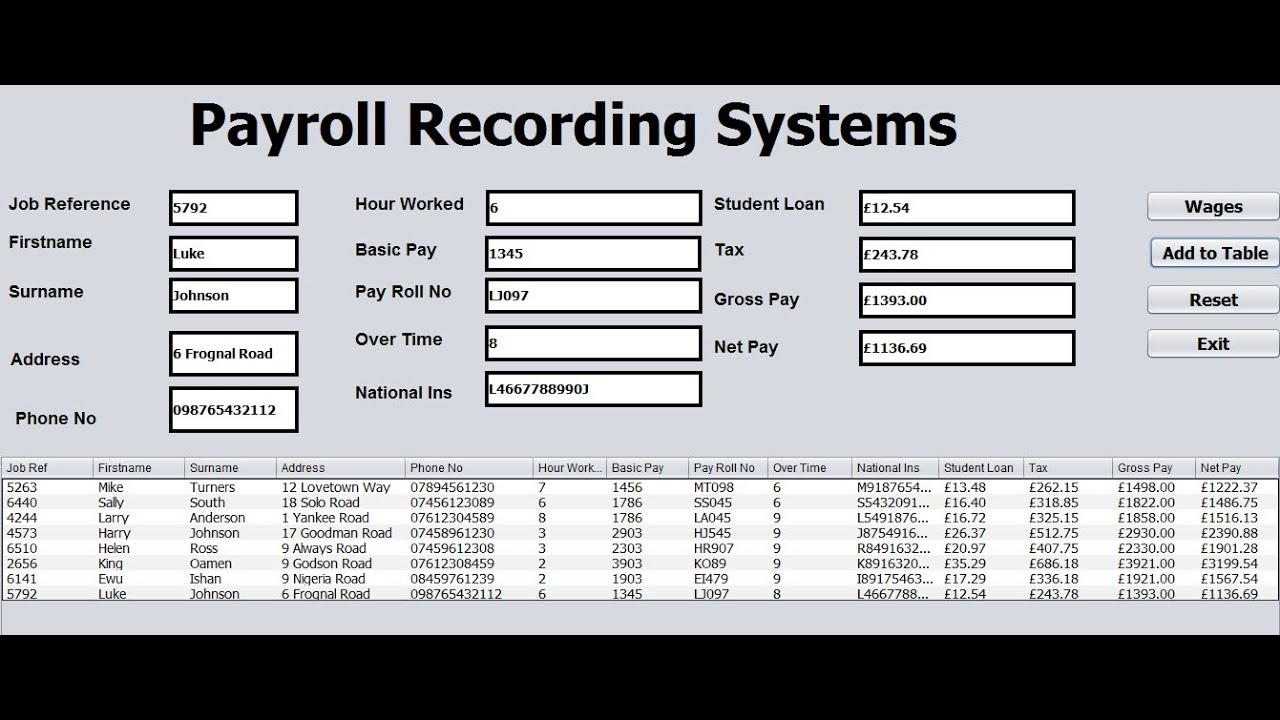 How to Create Payroll Recording Systems with Table in Java