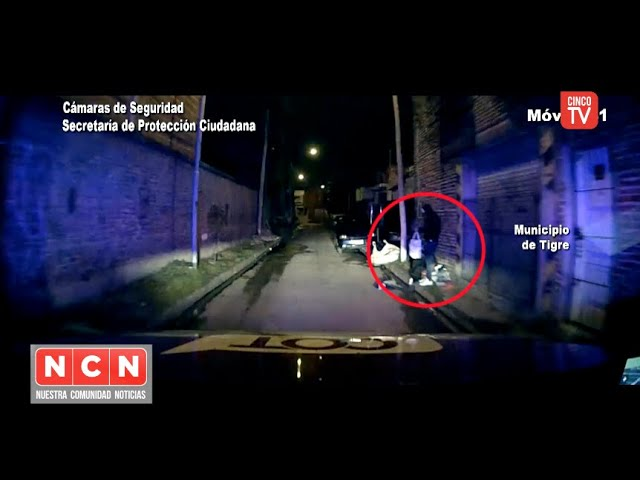 CINCO TV - Robaron objetos de un auto abandonado y fueron acorralados por las cámaras de Tigre