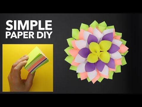 SIMPLE Paper Dahlia. Amazing and EASY Origami tutorial. STICKY NOTES decoration. DIY Paper Crafts