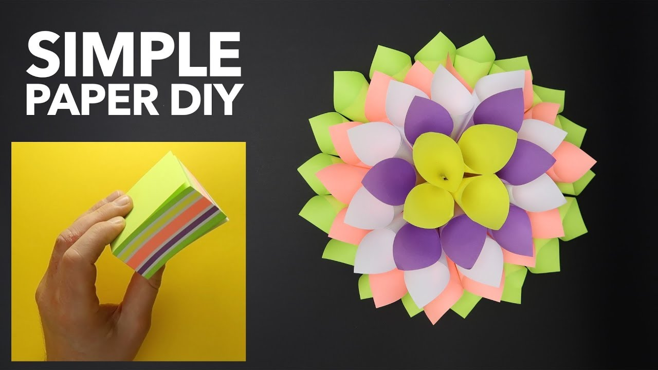 Wonderful Paper Origami Project Simple Paper Dahlia Sticky Notes
