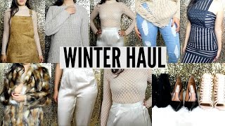 Winter FASHION TRY on Haul 2015 + NEW HEELS AND Heel GIVEAWAY! Holiday outfits