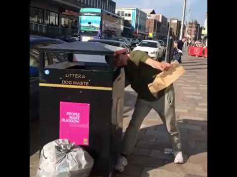 The Woody Show - Scottish Guy Gets His Head Stuck in a Trash Can