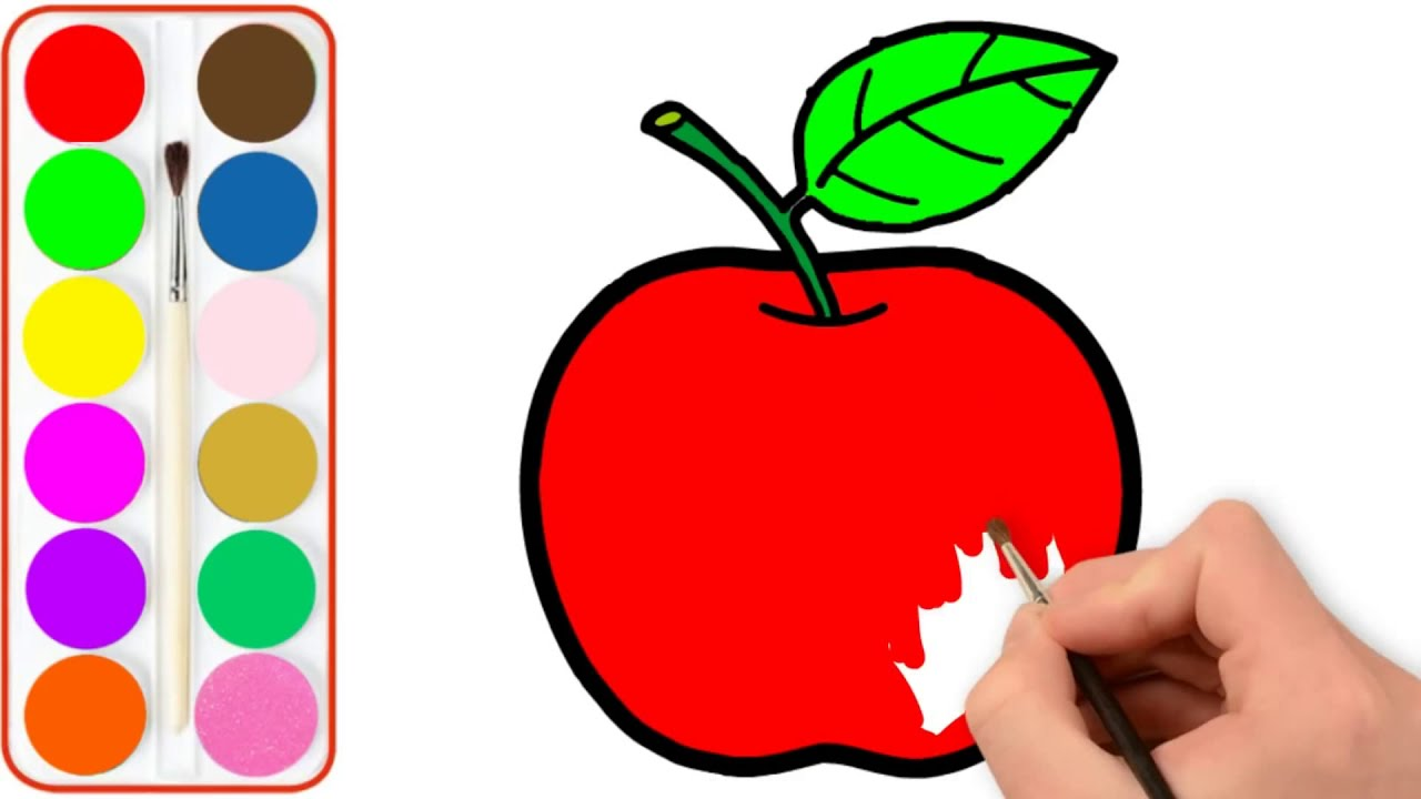 Glitter Apple Flower Coloring Pages For Kids Elma Boyama Sayfasi