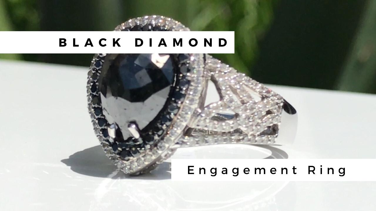 Giant Black Diamond Engagement Ring   Cobymadison Jewelers