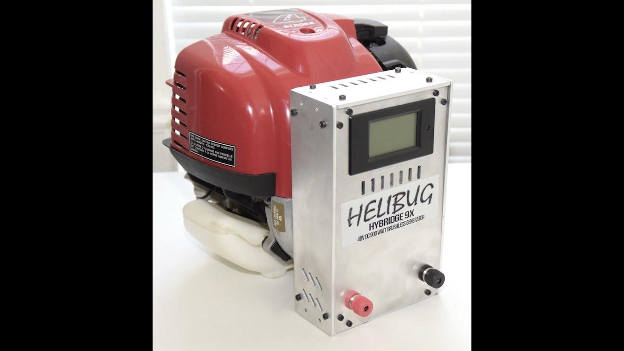 Helibug 48V (12V/24V/36V LOW RPM) DC 900 W Charger Generator Honda GX-35 engine Autonomous UAV ...