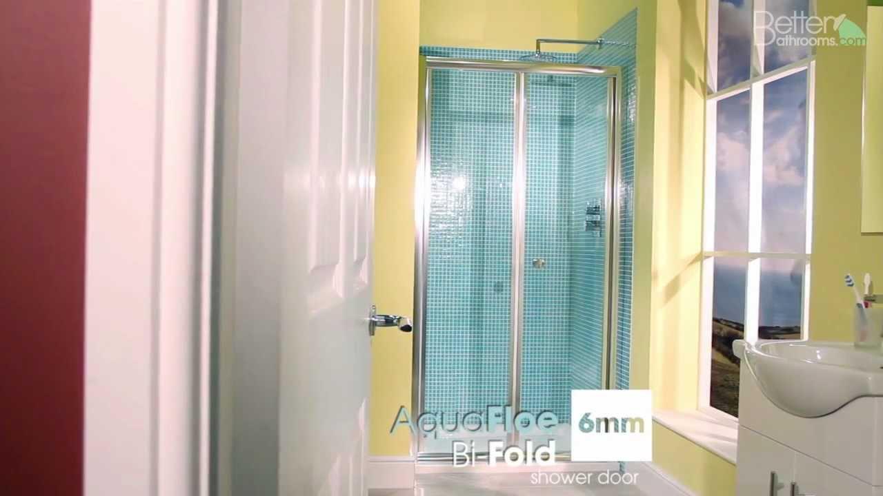 Aquafloe 1000 Bi Fold Shower Door - YouTube
